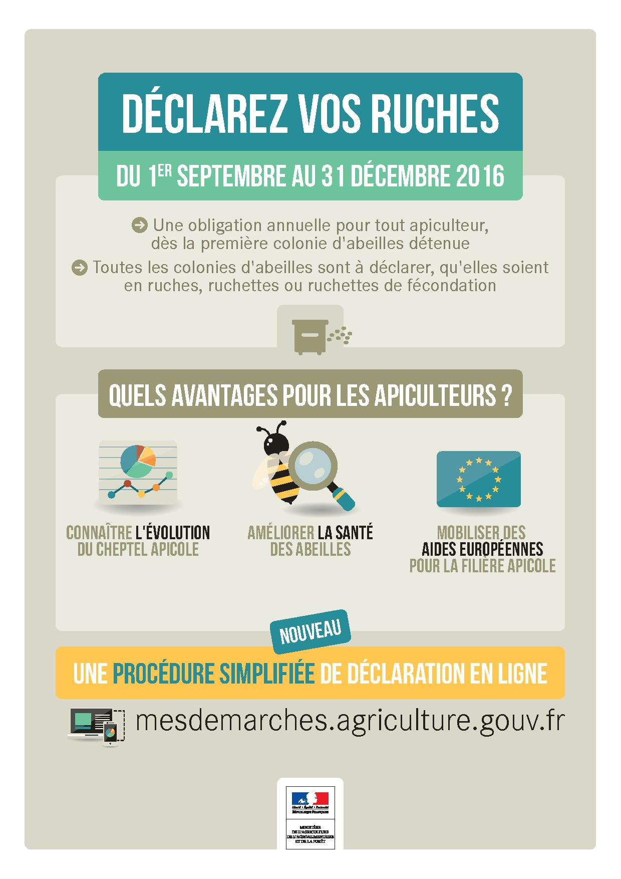 Affiche declaration ruches 2016